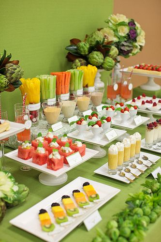 This is so creative! Fruit & Veggie Buffet: What a great, healthy twist on the popular candy buffet – and it looks absolutely gorgeous. For the morning after!