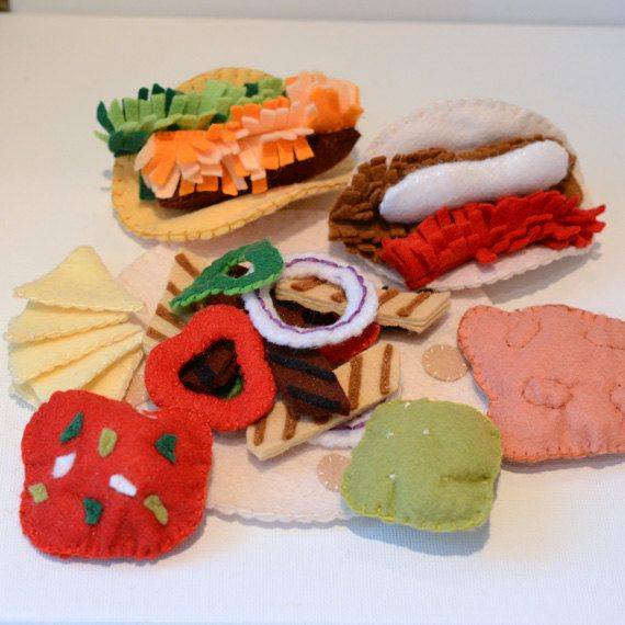 Felt Food Mexican Fajita Taco Dinner Children's by FeltFarmMarket, $40.00