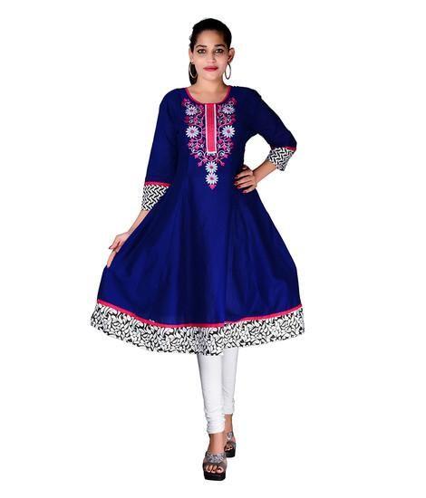 LadyIndia.com # Cotton Kurti, Occasional Embroidered Stylish Anarkali Blue Kurti For Women, Kurtis, Kurtas, Cotton Kurti, https://ladyindia.com/collections/ethnic-wear/products/occasional-embroidered-stylish-anarkali-blue-kurti-for-women