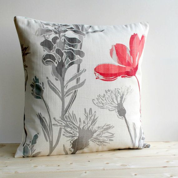feminine pillow cover 16 inch floral cushion cover 16 inch pillow sham meadow red on