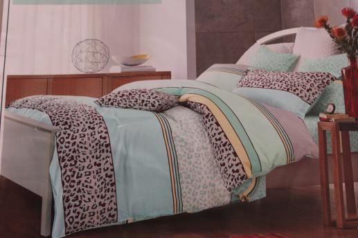 Ткань для постельного белья, полосы, леопардовый принт, мятный фон