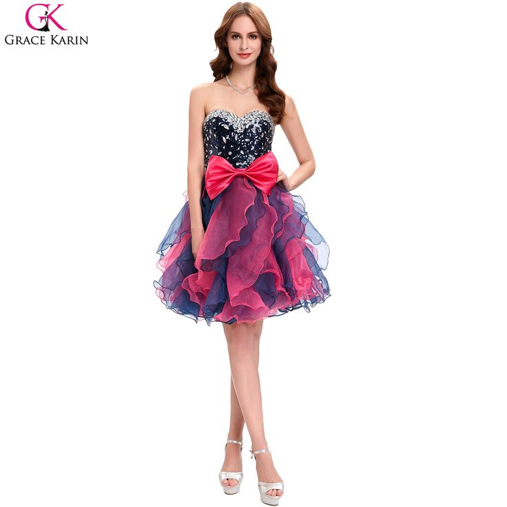 Grace Karin Cocktail Dresses Strapless Organza Vestidos Sequin Bead Bow Black Red Short Formal Gowns Pretty Cocktail Party Dress