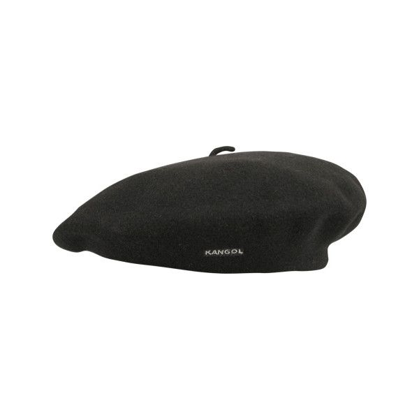 """Women's Kangol 11"""" Modelaine Shower Proof Beret ($43) ❤ liked on Polyvore featuring accessories, hats, headwear, berets, black, wool beret, kangol beret, wool hat, kangol and woolen hat"""
