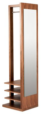 The perfect way to keep those coats tidy but to hand with this freestanding walnut veneered coat stand. It has a mirrored front and added shelving for shoes.