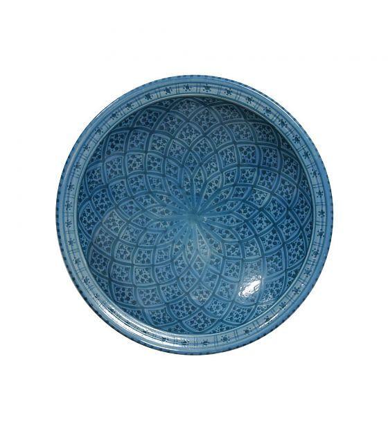 HK-living Schaal souk groot B blauw aardewerk 33x33x8cm - wonenmetlef.nl