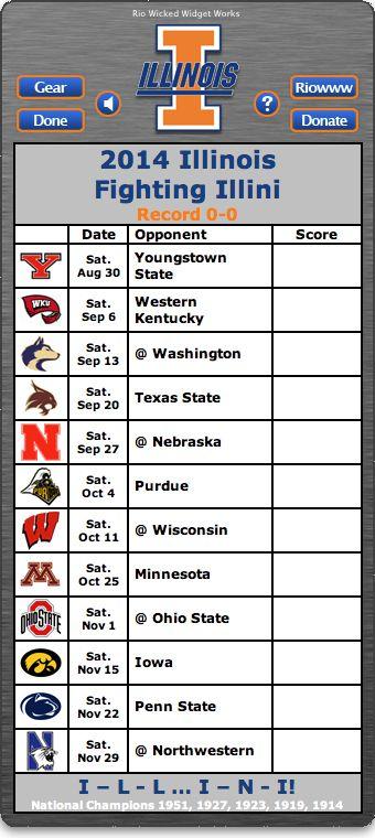 BACK OF WIDGET - Free 2014 Illinois Fighting Illini Football Schedule Widget for Mac OS X - I - L - L ... I - N - I! - National Champions 1951, 1927, 1923, 1919, 1914  http://riowww.com/teamPages/Illinois_Fighting_Illini.htm