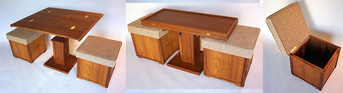 storage ottomans, rectangular coffee table, raises to dining table and unfolds to square, way cool