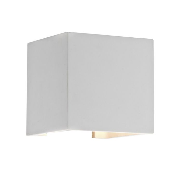 Dar Lighting Khan LED Square Wall Washer in White Plaster KHA0748 | Arrow Electrical