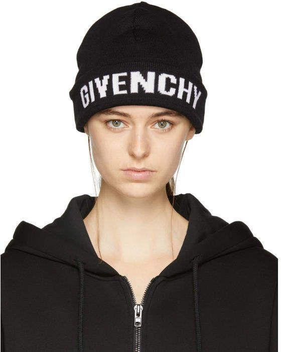 4b01b835be7 Givenchy Black Logo Beanie