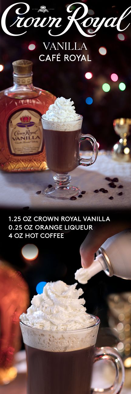 The holidays are here, and with it come the cold temperatures of the season. Layer up and keep warm with a hot cocktail recipe made with a kick of coffee. To make a Café Royal, combine 1.25 oz Crown Royal Vanilla, 0.25 oz orange liqueur, and 2 dashes bitters in a cocktail glass. Add 4 oz hot coffee, top with whipped cream, and raise a post-dinner cocktail that might as well be dessert.