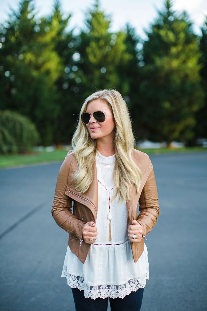 the southern style guide, fall outfit, leather jacket outfit