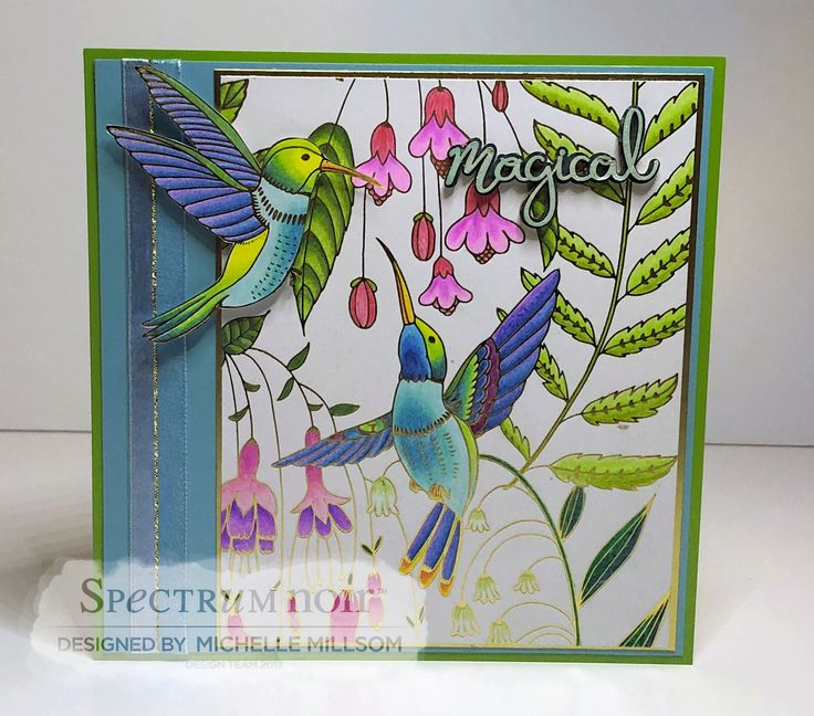 7 X 7 Tent Fold Card. Designed by Michelle Millsom. Colourista A4 Foiled Pad - Natural Beauty. Colourista Pencils - All Packs.