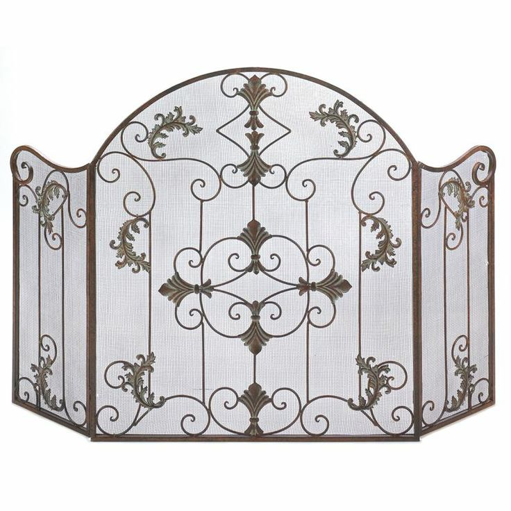 Spanish style Embellished Wrought Iron Fireplace Screen