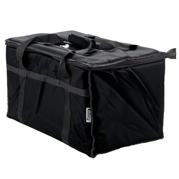 """Control food temperature during your restaurant's delivery service or transportation to catered events with this Choice black nylon insulated food delivery bag / pan carrier! This carrier's 1/2"""" thick layer of insulation keeps warmed foods piping hot and cold foods chilled. The zipper top enables easy opening and secure closing. Plus, the container's top load design creates a broad area for quick loading and unloading of containers. Each carrier can hold up to five..."""