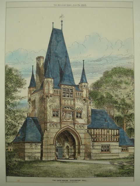 Gate-House at Eccleston Hall , Eccleston, England, UK John Douglas, architect(s). From the American Architect and Building News, June 29, 1883. 16 by 12.25 inches. VG+ condition with light browning al                                                                                                                                                                                 More