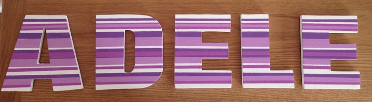 Painted stripy mdf letters