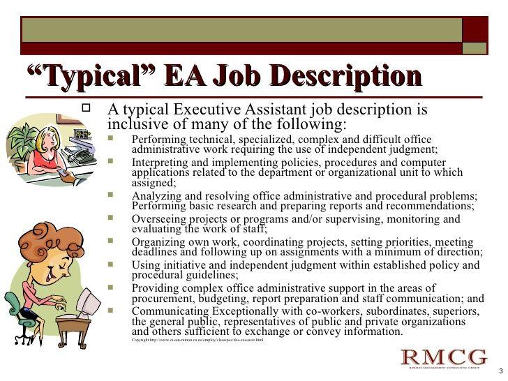 Mer enn 25 bra ideer om Executive assistant job description på - ceo job description