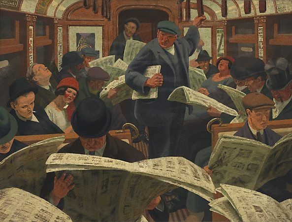 (Morning underground), (1922) by Weaver Hawkins :: The Collection :: Art Gallery NSW