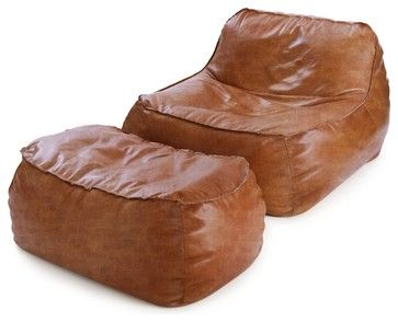 Rust Leather Bean Bag Lounge Chair & Ottoman contemporary-bean-bag-chairs