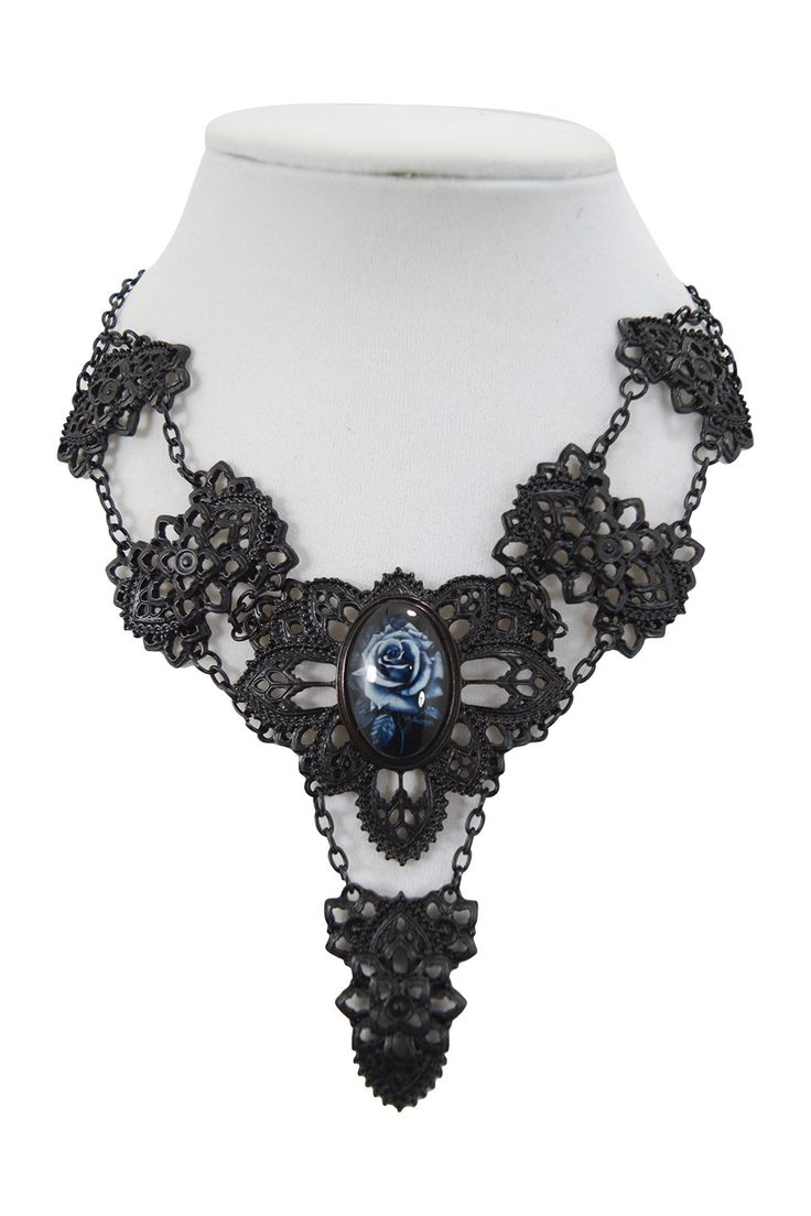 Restyle Victorian Gothic Beauty Matte Black Metal Filigree with Rose Cameo Choker Necklace. Beautiful and breathtaking black matte metal filigree choker Collar made of high-quality alloy matte black,