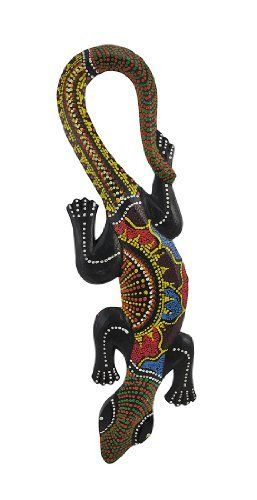 Aboriginal Dot Painted Gecko Wooden Wall Hanging Lizard by Private Label. $13.49. Made in Indonesia, this gecko wall hanging is hand-carved from dark soft wood, then dot-painted by hand in the classic Aboriginal style. Measuring 19 3/4 inches tall, 6 1/2 inches at its widest and 3/4 of an inch deep, it looks great on walls in patios, living rooms, offices, bedrooms, even in kitchens.This wall hanging makes a great gift for friends and family. NOTE: Since these are hand-pa...