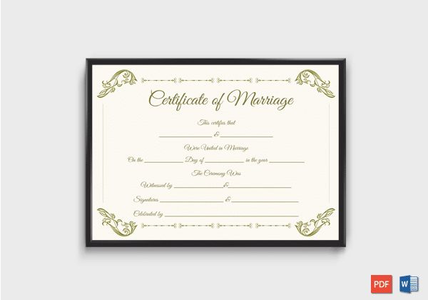 Marriage certificate template for PDF download