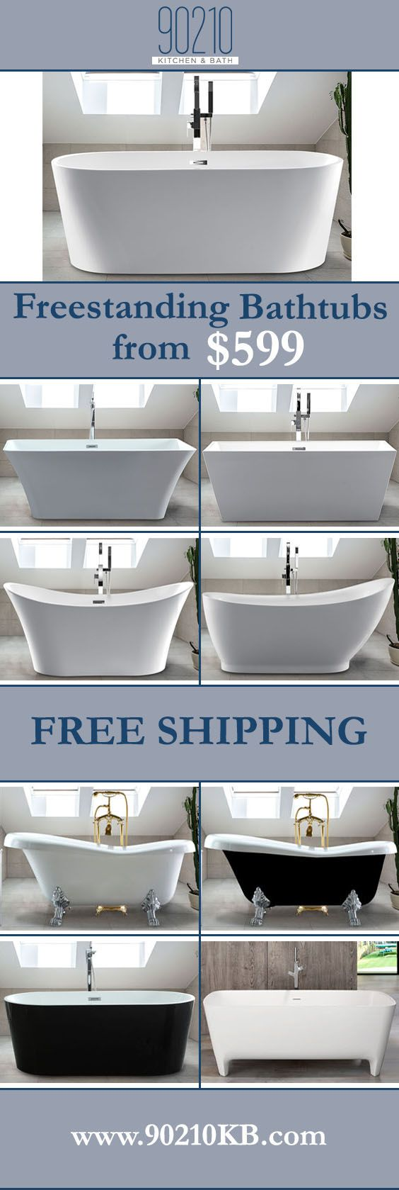 "Selection of Freestanding tubs in modern and traditional design starting at $599 in size ranges of 59"" 60"" 63"" 67"" 70"" 71""  These are high quality tubs at budget prices"