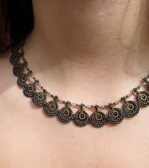 Iridescent Chocolate Chic Crochet Necklace