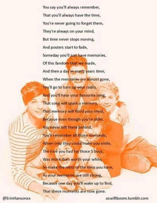 One Direction Poem I know this will one day be true:( but I will never forget Harry's amazing voice Zayns awesome hair lol Nialls adorable face Louis' laugh Liam's kindness .... 5 of the most amazing guys on earth