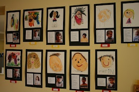 "Display self portraits along with photos of the children ("",)"
