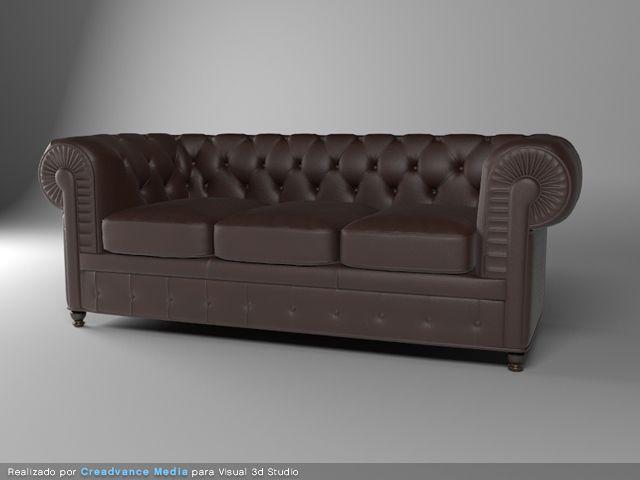 sofa cuero 3d