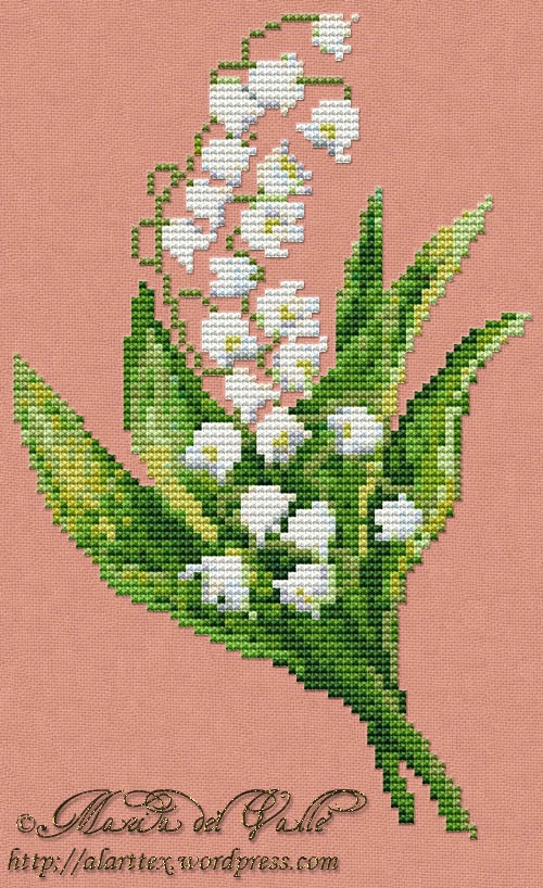 Brin de Muguet; Lily of the Valley PDF cross stitch pattern with DMC color key; French site with English translation.