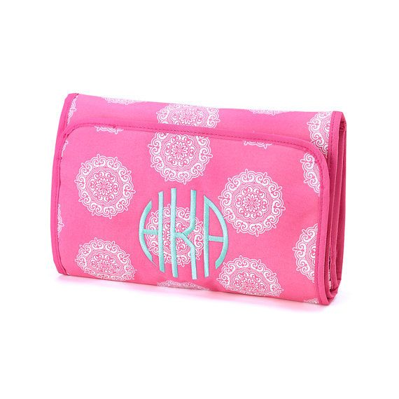 Hanging Makeup Case Organizer Pink Medallion Maddie Monogrammed Personalized on Etsy, $15.00