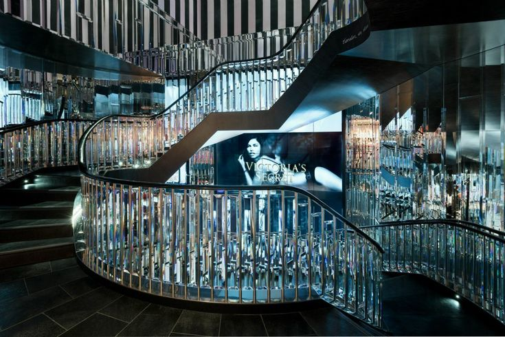 VICTORIA'S SECRET LONDON STORE ON NEW  BOND STREET - THE  CRYSTAL STAIRCASE  WITH VIDEO SCREENS OF THE ANGELS...