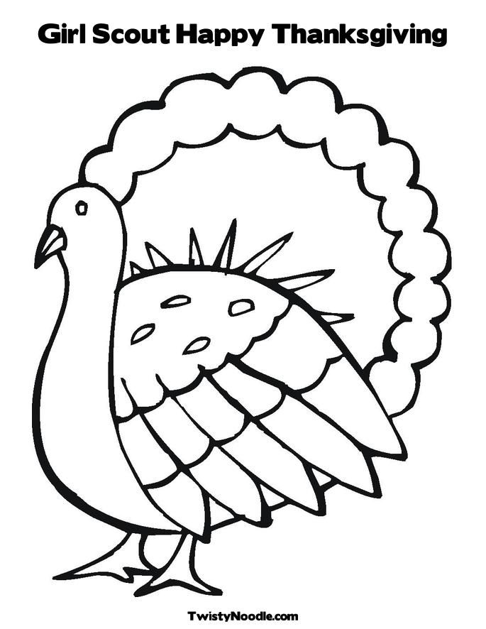 Girl Scout Happy Thanksgiving Coloring Page Twisty Noodle