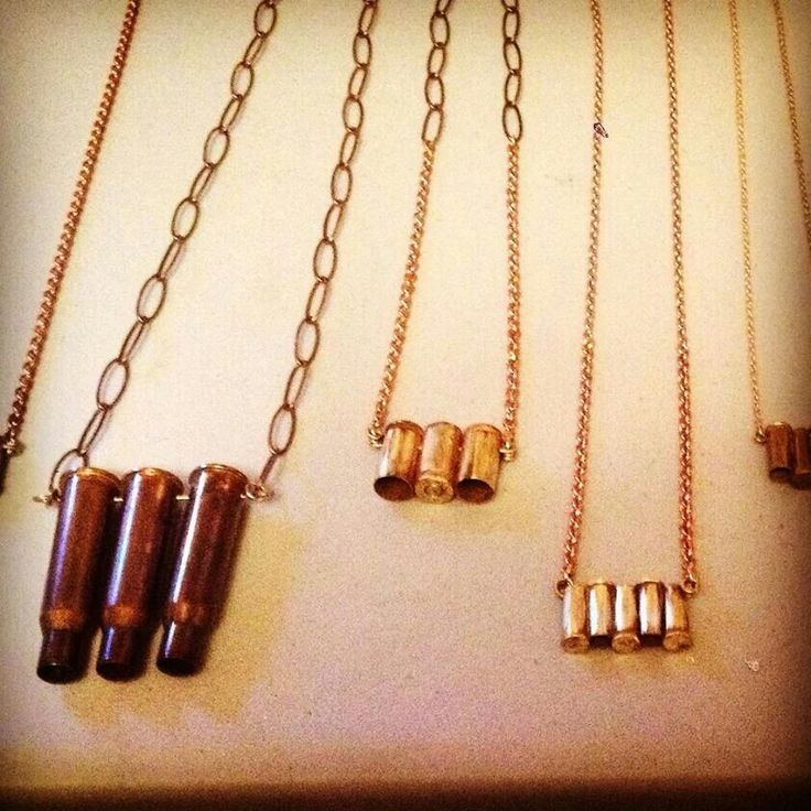 Bullet casing necklaces! For sale by inner loop design co check them out on facebook!