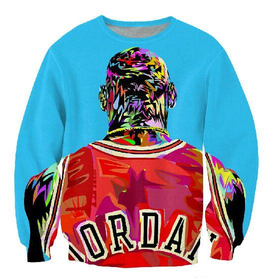 Sale!Factory new men/women's 3D pullover hoodies print color painting Jordan sweatshirt long sleeve crewneck casual sweat shirt