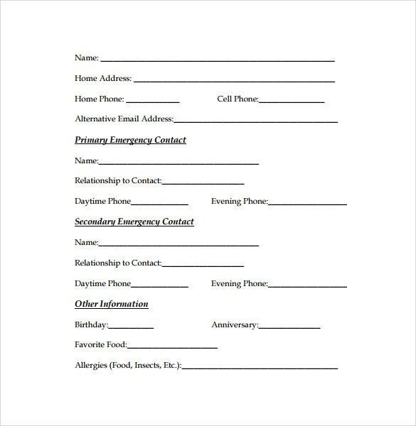 In Case Of Emergency Form Luxury Emergency Contact Forms 11 Download Free Documents In Emergency Contact Form Emergency Contact Emergency Contact List