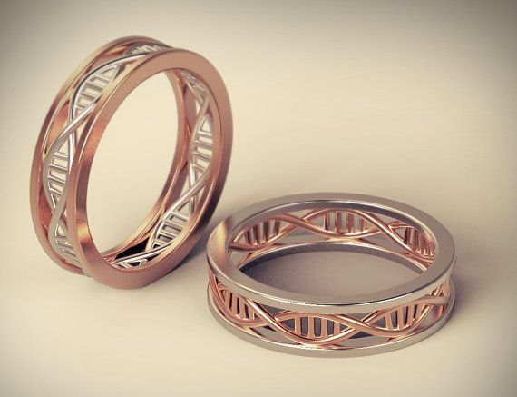 DNA wedding ring, geek wedding ring, braided wedding ring, braided ring 14k gold, geek engagement ring, science ring, biology ring, nerd