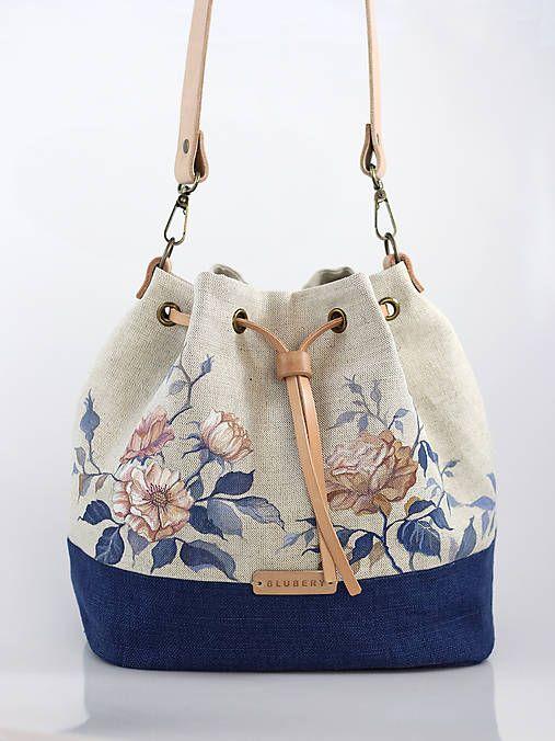 Blubery / Ručne maľovaná ľanová kabelka z ľanu
