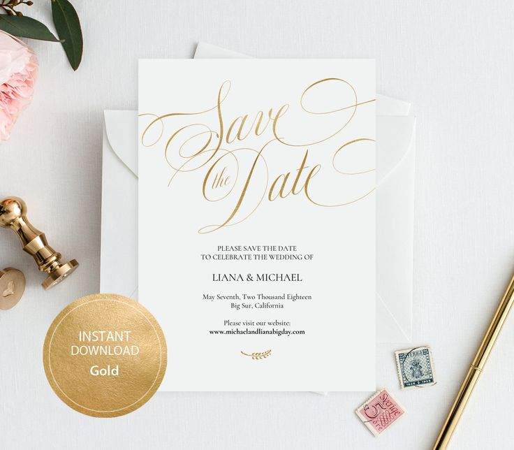 Editable PDF Template 5x7 Save the Date INSTANT DOWNLOAD Wedding Save the date calligraphy save the date Cards Printable Gold #DP230_30 #wedding #instant #download #printable #image #graphic #digital #reception_sign #PDF #Template #wedding_ceremony #wedding_sign #Calligraphy #Sign #events #events_design #wedding_printable #wedding_design