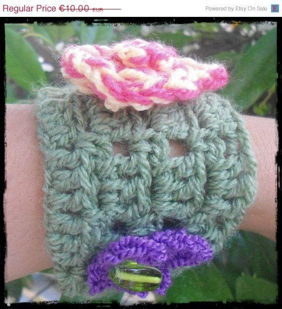 For today only Green Bracelet  Crochet Bracelet  by CRAZYBOOM