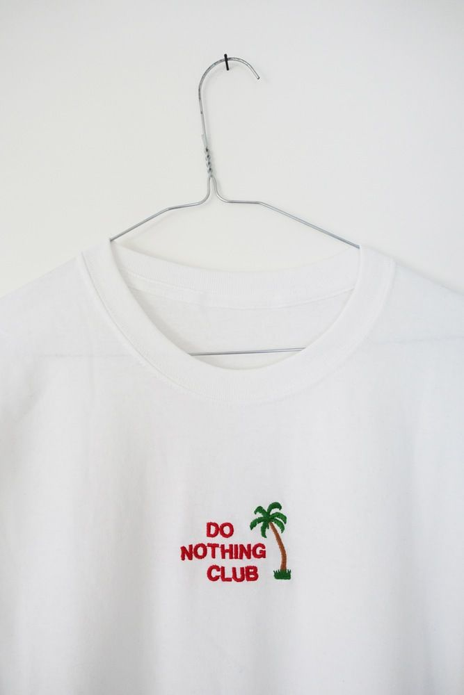 THE DOPE LYFE — EMBROIDERED DO NOTHING CLUB PALM LOGO TSHIRT [WHITE] [DROPS JANUARY 31ST 2016, 6PM UK TIME]