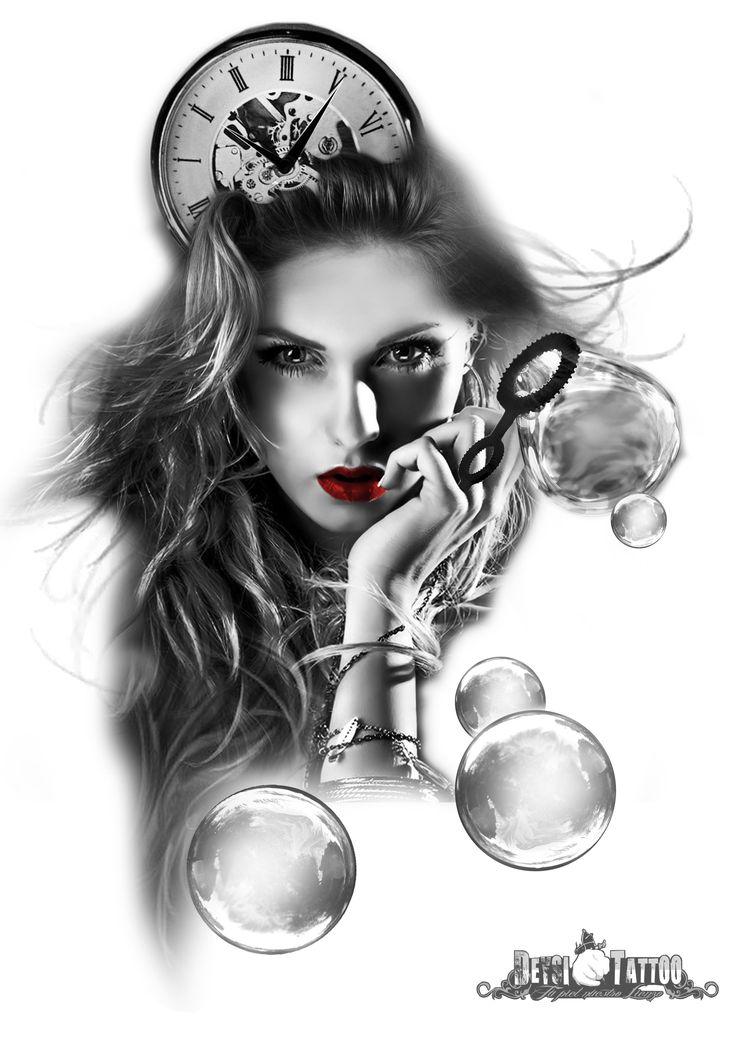 Idea para tatuar compuesta por una mujer y un reloj principalmente. La mujer tira pompas de jabón. #santcugat #deysitattoostudio #deysitattoo www.deysitattoo.com  citasdeysitattoo@gmail.com tlf: 639 327 919   #ideatattoo #ideastatuajes #tattoo @deysitattoo