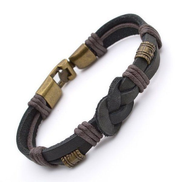 Authentic Tribal Leather Wristband Surf Black Mens Bracelet