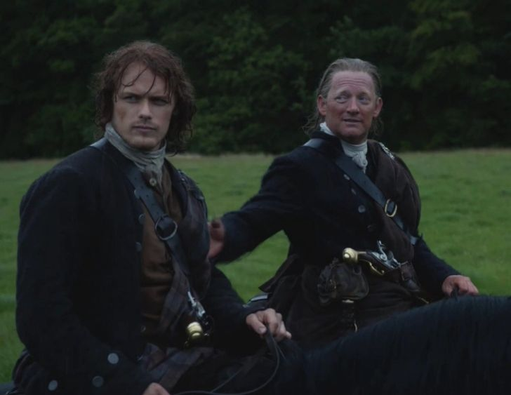 """Taran (Douglas Henshall) and Jamie (Sam Heughan) in """"The Watch"""" of Outlander on Starz via http://outlander-online.com/2015/05/03/1370-uhq-1080p-screencaps-of-episode-1x13-of-outlander-the-watch/"""