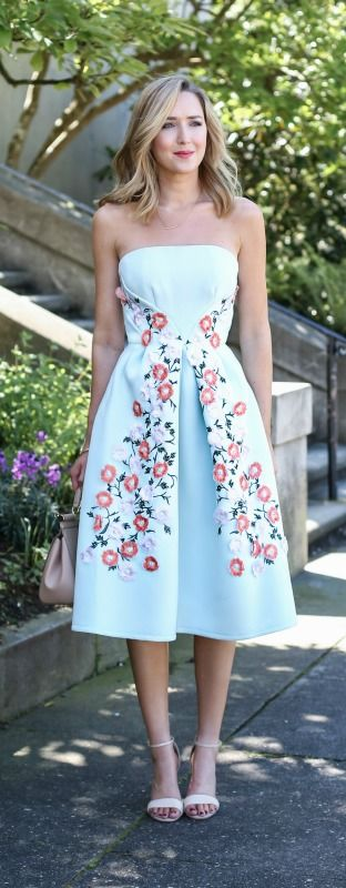 2016 Spring / Summer Dress MEMO: The ultimate dress guide for every warm weather occasion or event this spring and summer! Garden Party Dress {mint floral embroidered strapless midi dress, nude ankle strap heeled sandals}