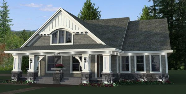 This #one-story #houseplan features a nostalgic façade that greets visitors to this three-bedroom bungalow design. See more at: http://www.thehousedesigners.com/plan/stratton-9669/