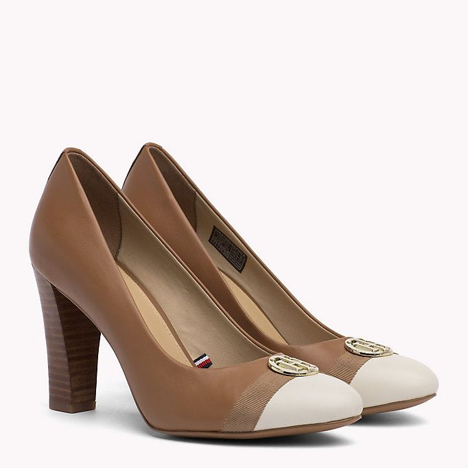 TOMMY HILFIGER Colour Blocked Leather Pumps SUMMER COGNAC