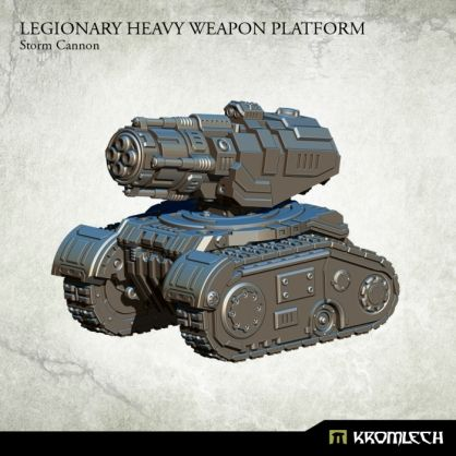 This set contains one resin Legionary Heavy Weapon Platform armed with Storm Cannon. Designed to fit futuristic 28mm heroic scale vehicles. This model is approximately 53mm long, 44mm wide and 45mm height
